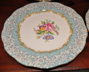 ROYAL ALBERT AQUA BLUE ENCHANTMENT SALAD PLATES