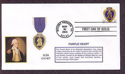 The Purple Heart Military Medal, George Washington, First Issue Virginia USA