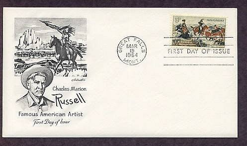 Charles M. Russell, Cowboy Indian Artist, Horses, USA FDC