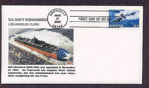 Navy Nuclear Submarine Los Angeles, USS Hartford, First Issue USA