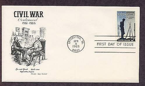 Civil War Centennial Appomattox Ulysses S. Grant Robert E. Lee First Issue FDC USA