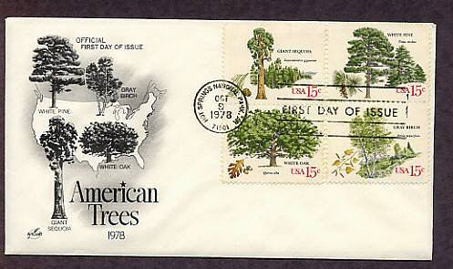 Trees, White Pine, Giant Sequoia, Gray Birch, Oak, First Issue USA