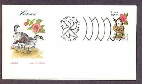 Birds and Flowers of Hawaii Hibiscus Goose First Issue USA