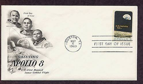 NASA Apollo 8 Mission, First Manned Lunar Orbit, Astronauts, Texas, First Issue USA