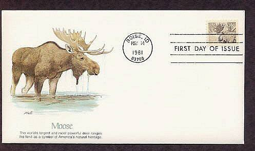 Majestic Moose in Water, Animal, First Issue USA
