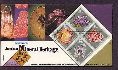 Minerals, Amethyst, Tourmaline, Petrified Wood, Rhodochrosite, First Issue USA