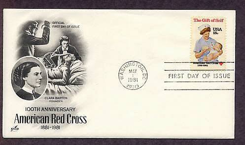 Red Cross Civil War Nurse Clara Barton, Nurse with Baby, First Issue USA