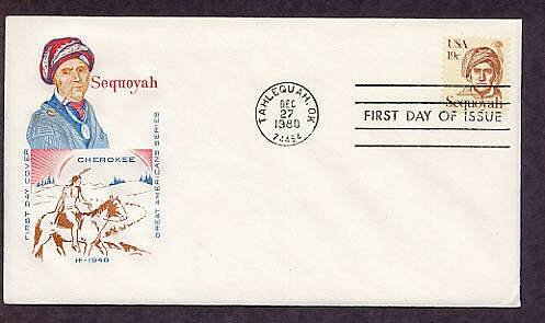 Honoring Cherokee Indian Sequoyah, Oklahoma Native American, First Issue USA