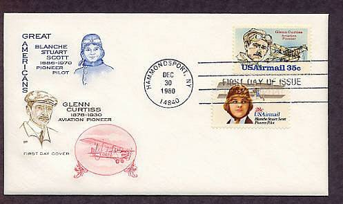 Pilot Blanche Stuart Scott, Glenn Curtiss, Aircraft, Aviation Airmail First Issue USA