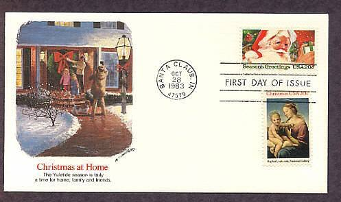 Christmas USPS Stamp Santa, Madonna and Child 1983 First Issue USA