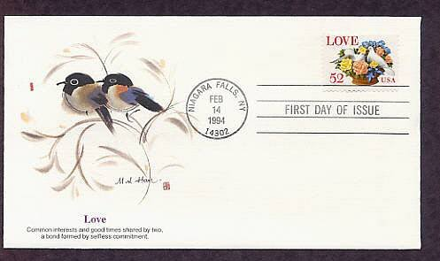 1994 USPS Love Stamp, Flowers and Doves, Birds, Niagara Falls, First Issue USA