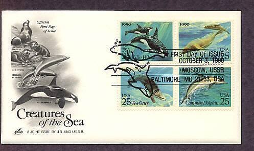 Sea Creatures, Dolphin, Killer Whale, Otter, First Issue USA