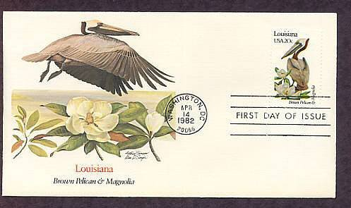 Louisiana State Bird, Pelican, Flower Magnolia, FW First Issue USA