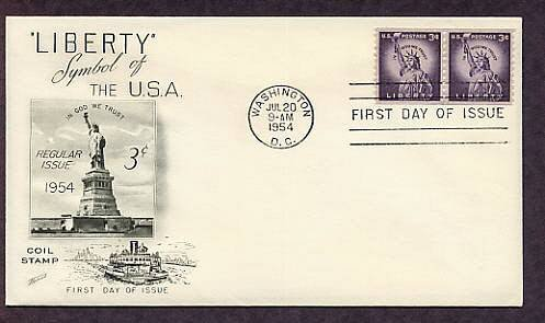 Statue of Liberty on Liberty Island, New York Harbor, National Monument, First Issue 1954 USA
