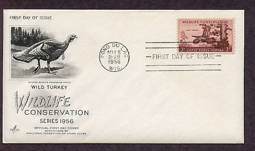 Wild Turkey, Fond Du Lac, Wisconsin, First Issue 1956, National Wildlife Conservation USA