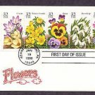Winter Garden Flowers Crocus, Winter Aconite, Pansy, Snow Drop, Anemone First Day of Issue USA USPS