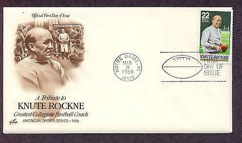 Knute Rockne, Notre Dame Football Coach, First Issue FDC USA