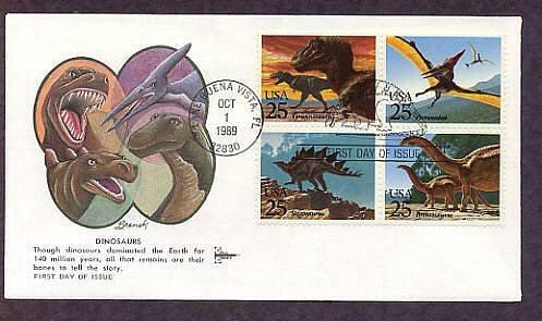 Dinosaurs, Tyrannosaurus, Pteranodon, Stegosaurus, First Issue Gill Craft FDC USA