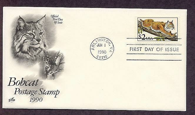 Bobcat Animal, Most Common Wildcat in the United States, First Issue FDC USA 1990