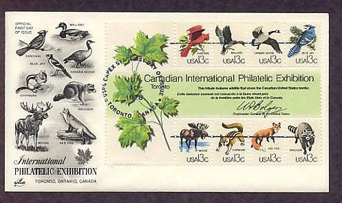 Capex '78 Cardinal, Mallard Duck, Canada Goose, Blue Jay, Moose, Chipmunk, Red Fox, Raccoon, FDC USA