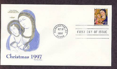 1997 Christmas Stamp, Madonna and Child with Saints and Angels, Artist Sano di Dipietro, First Issue