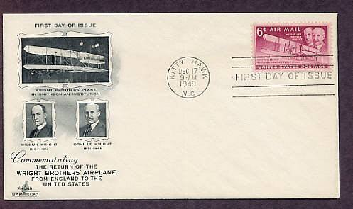 Wright Brothers Airplane Kitty Hawk, North Carolina, 1949 First Issue USA
