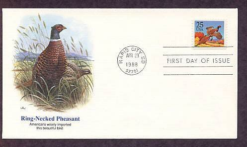 Ring-Necked Pheasant, Bird, South Dakota, First Issue 1988 USA