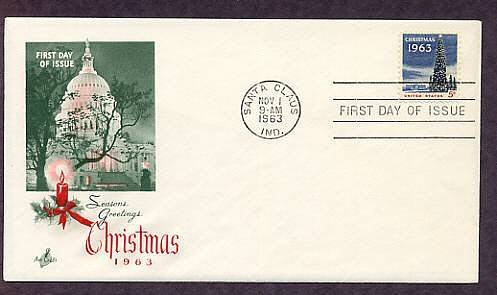 1963 Christmas USPS Stamp, White House, U.S. Capitol, First Issue USA