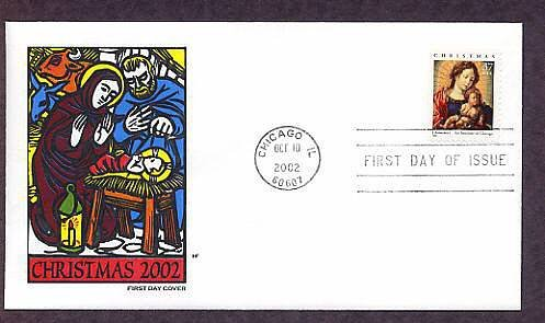 2002 U.S. Christmas Stamp, Madonna and Child, Artist J. Gossaert, First Issue USA