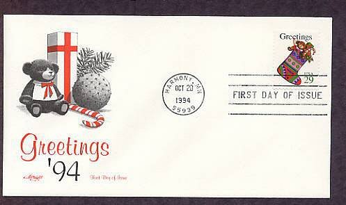 Christmas Stocking, Teddy Bear, USPS Stamp, 1994 First Issue USA