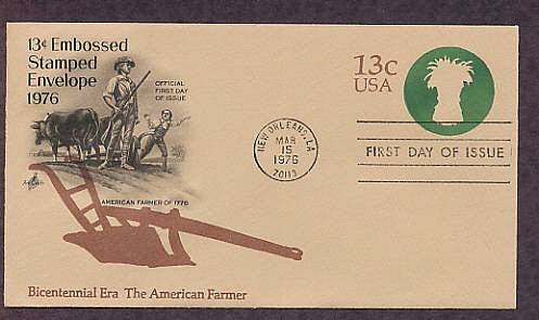 USPS Honoring American Farmer, Bicentennial Plow, First Issue USA