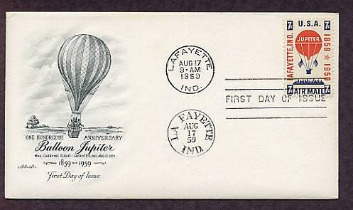 First Official Air Mail Letter, Hot Air Balloon Jupiter, First Issue USA
