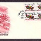 Christmas Stamp USPS, Sleigh, Santa Claus, 1989 First Issue USA