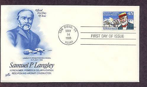 Honoring Aviation Pioneer Samuel P. Langley,  Air Mail First Issue FDC USA