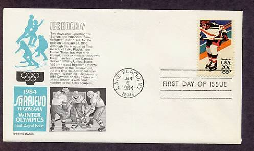 Olympics 1984 Ice Hockey, Sarajevo, Yugoslavia, First Issue USA