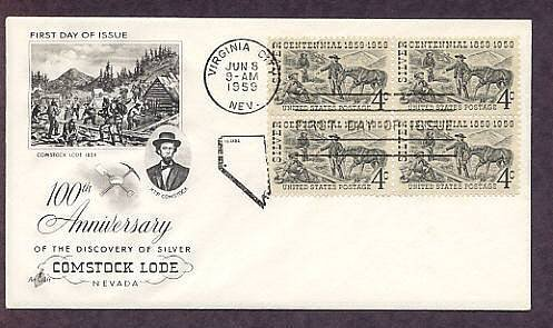 100th Anniversary of the Discovery of Silver, Comstock Lode, Nevada First Issue USA