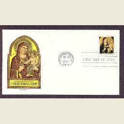 USPS Christmas Stamp, Madonna and Child, 1995, Artist Giotto di Bodone, First Issue FDC USA
