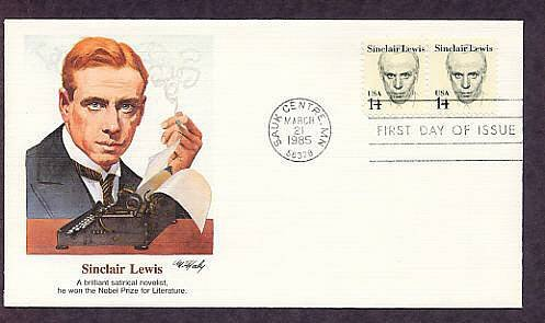 Honoring Writer Sinclair Lewis Nobel Prize Winner, First Issue Fleetwood FDC USA