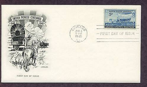 Swedish Pioneer Centennial, Covered Wagon, 1948 First Issue USA