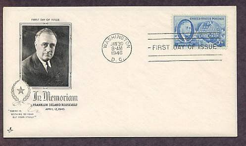 In Memorium, FDR, WW2 President Franklin Delano Roosevelt 1946 First Issue USA