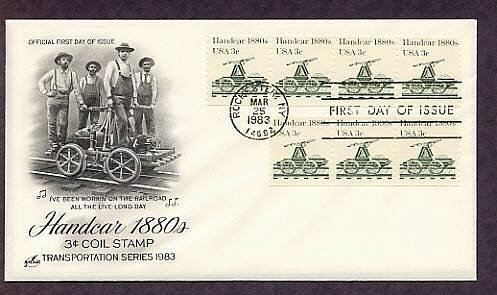 Railroad Handcar 1880s, Transportation, First Issue USA