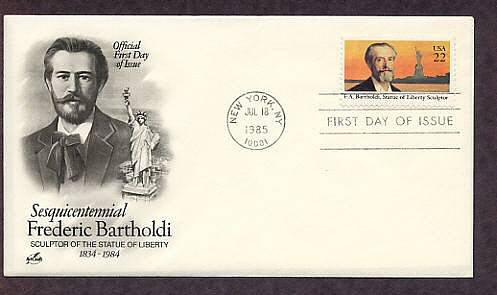 Frederic Bartholdi, Sculptor of the Statue of Liberty on Liberty Island, New York First Issue USA
