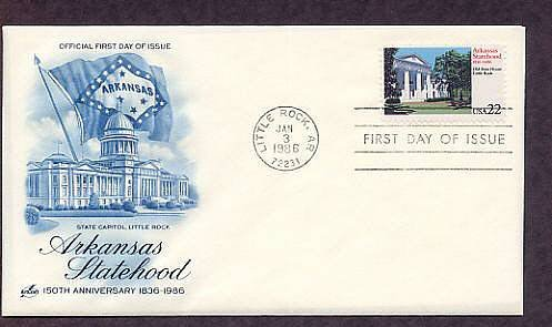 Arkansas Statehood, 150th Anniversary, First Issue FDC USA