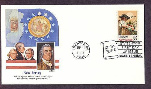 New Jersey Statehood, Constitution Ratification Bicentennial, First Issue USA  First Issue