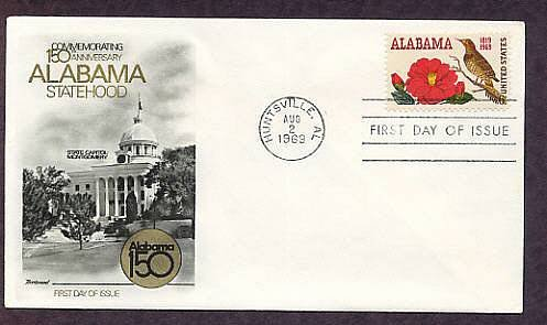 Alabama Statehood, Yellowhammer Bird, Camellia Flower, 150th Anniversary, First Issue USA
