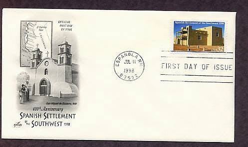 400th Anniversary Spanish Settlement of the Southwest 1598, Mission de San Miguel de San Gabriel FDC