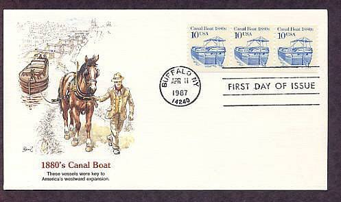 Canal Boat 1880s, First Day of Issue USA
