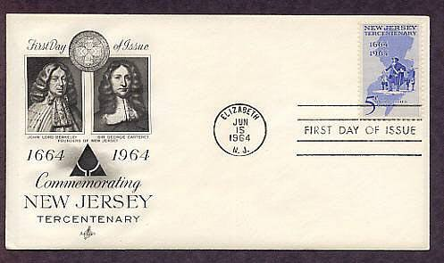 New Jersey Tercentenary 1664 - 1964, Founder Philip Carteret at Elizabethtown First Issue