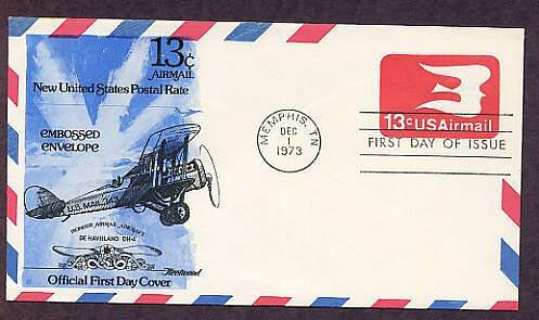 Airmail Embossed Envelope, Pioneer Airmail Aircraft, De Havilland DH-4, First Issue USA