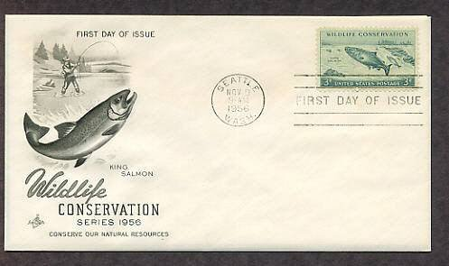 Wildlife Conservation, King Salmon, Fisherman, Seattle, Washington, 1956 First Issue USA